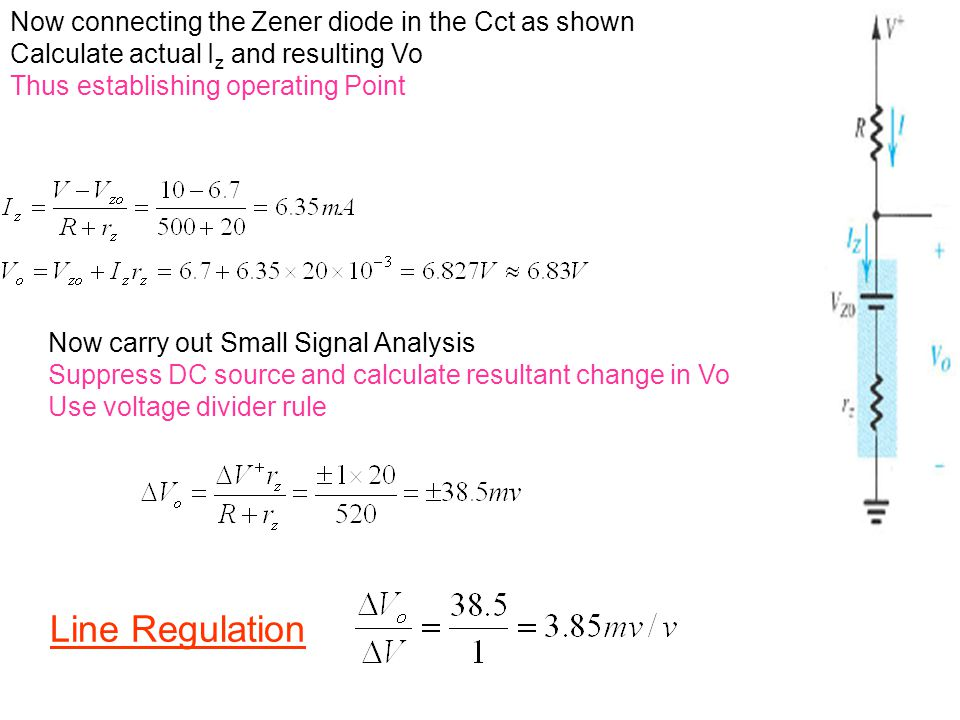 Line Regulation Now connecting the Zener diode in the Cct as shown