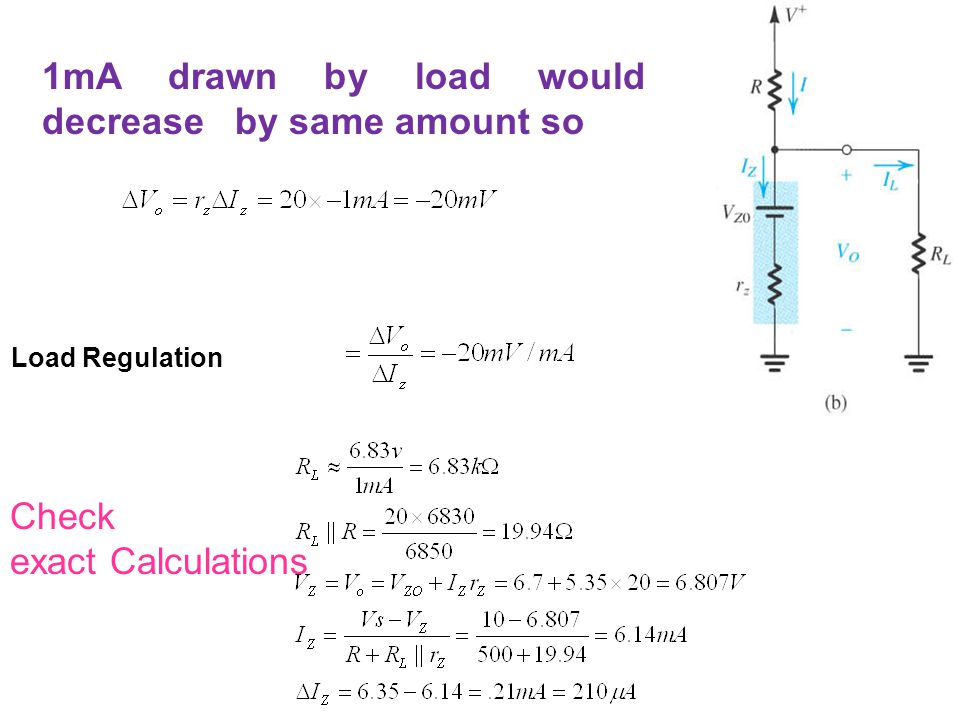 1mA drawn by load would decrease by same amount so