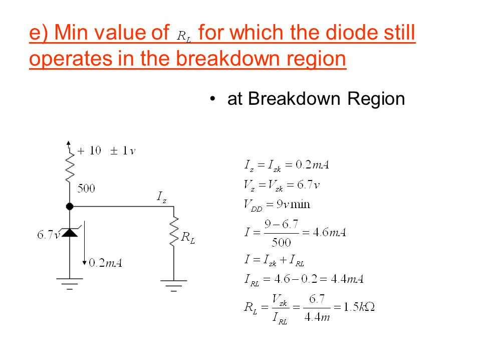e) Min value of for which the diode still operates in the breakdown region