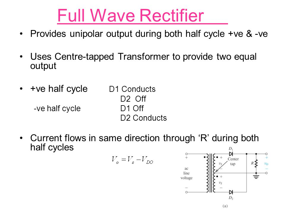 Full Wave Rectifier Provides unipolar output during both half cycle +ve & -ve. Uses Centre-tapped Transformer to provide two equal output.