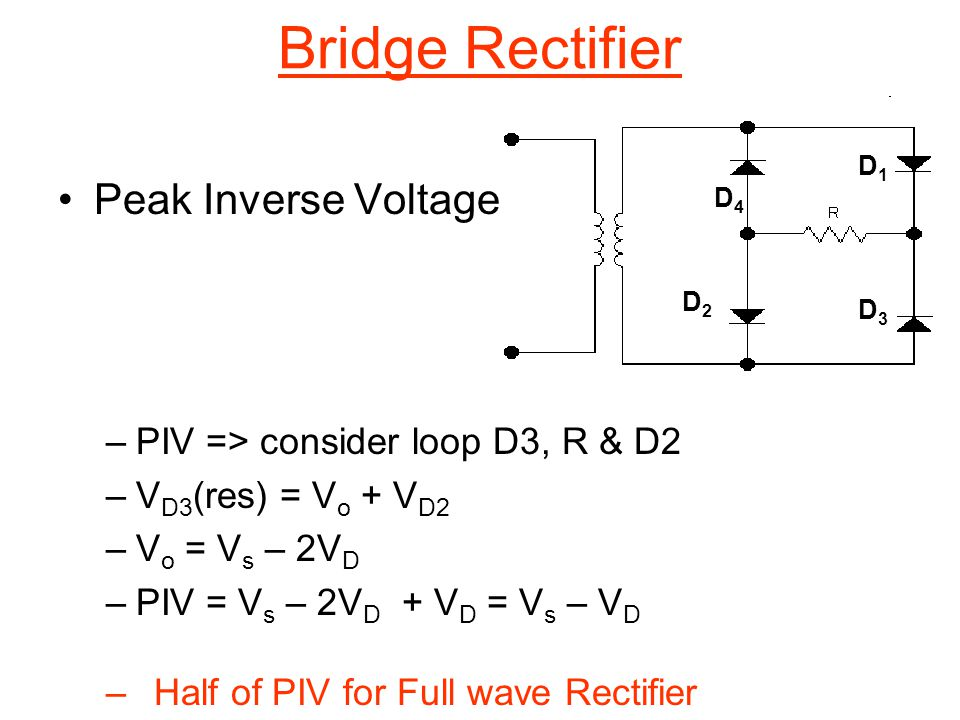 Bridge Rectifier Peak Inverse Voltage