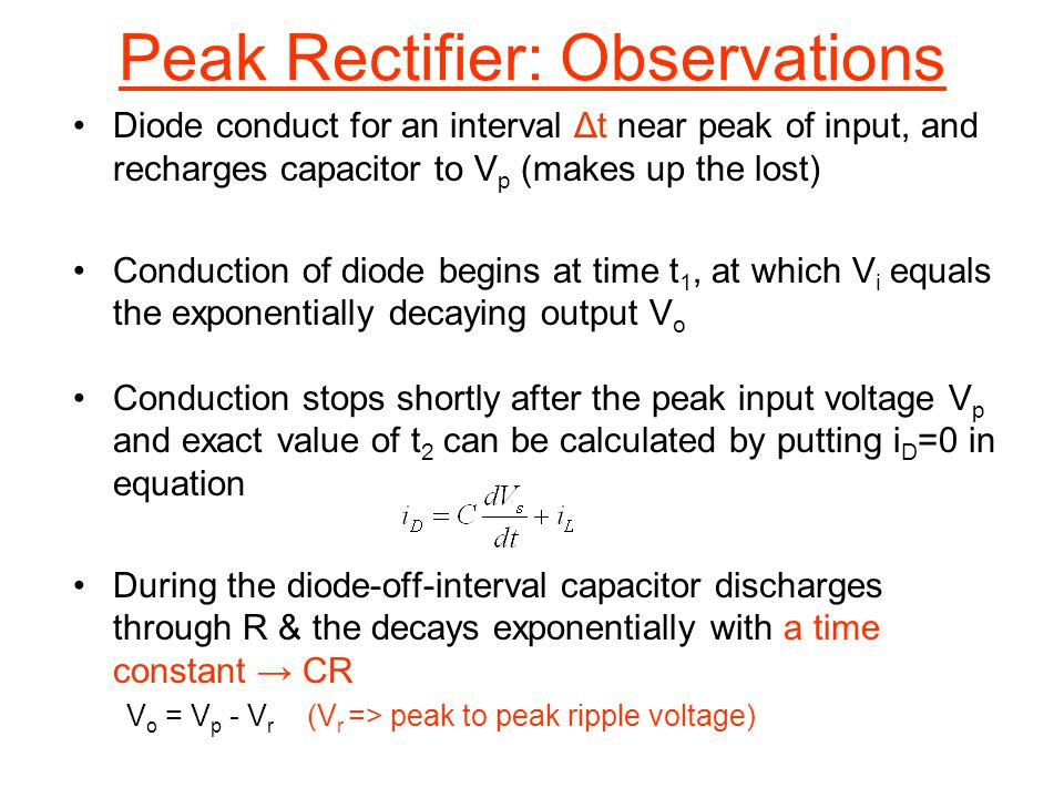 Peak Rectifier: Observations