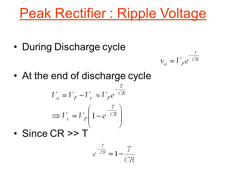 Peak Rectifier : Ripple Voltage