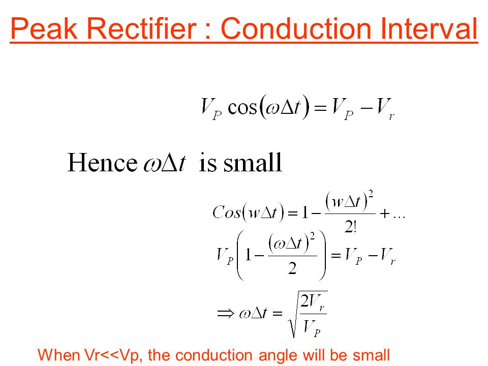 Peak Rectifier : Conduction Interval