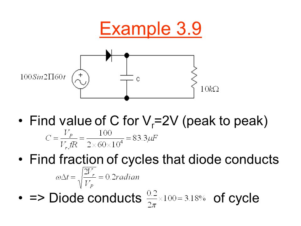 Example 3.9 Find value of C for Vr=2V (peak to peak)