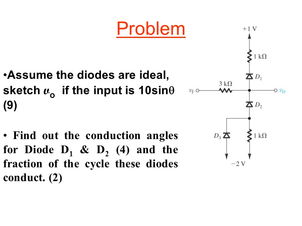 Problem Assume the diodes are ideal, sketch vo if the input is 10sin (9)