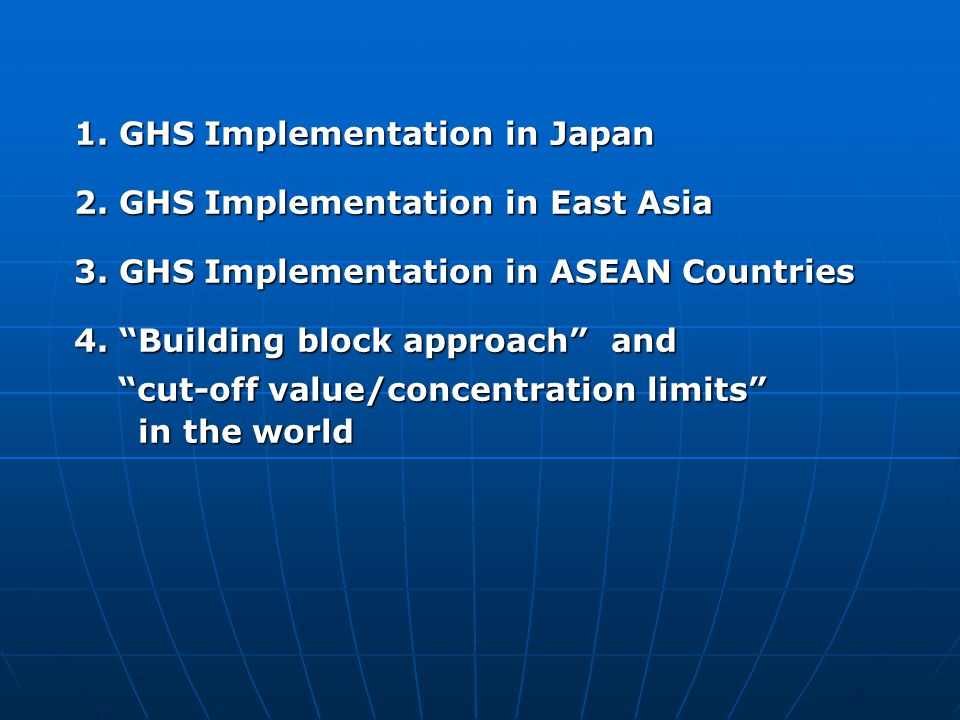 1. GHS Implementation in Japan
