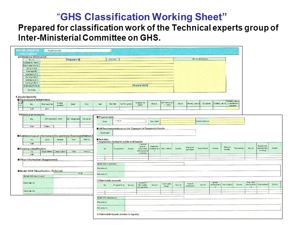 GHS Classification Working Sheet Prepared for classification work of the Technical experts group of Inter-Ministerial Committee on GHS.