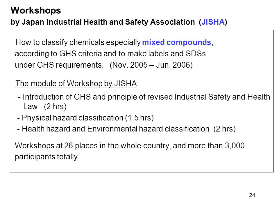 Workshops by Japan Industrial Health and Safety Association (JISHA)