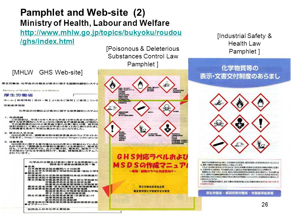 Pamphlet and Web-site (2) Ministry of Health, Labour and Welfare http://www.mhlw.go.jp/topics/bukyoku/roudou /ghs/index.html