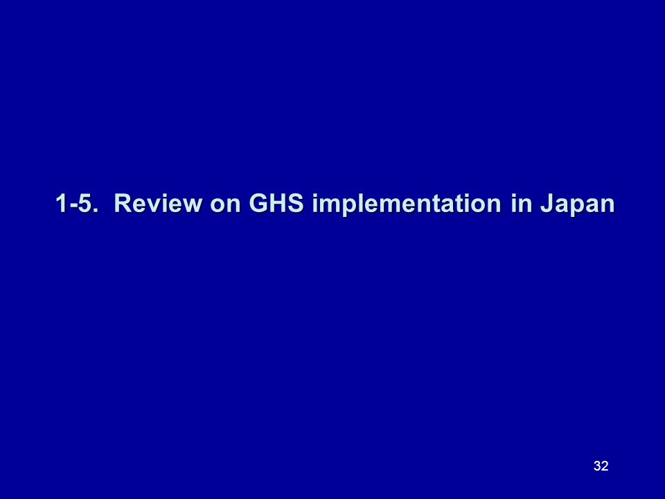 1-5. Review on GHS implementation in Japan