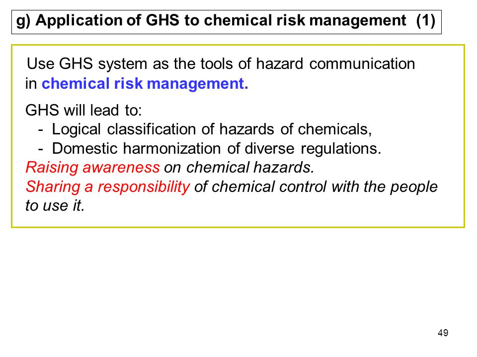 g) Application of GHS to chemical risk management (1)