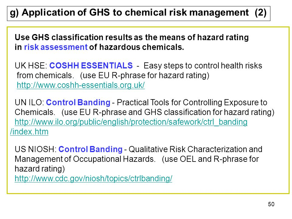 g) Application of GHS to chemical risk management (2)