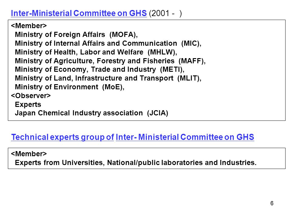 Inter-Ministerial Committee on GHS (2001 - )