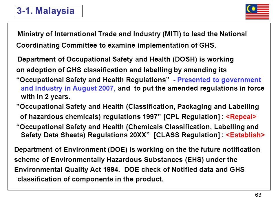 3-1. Malaysia Ministry of International Trade and Industry (MITI) to lead the National. Coordinating Committee to examine implementation of GHS.