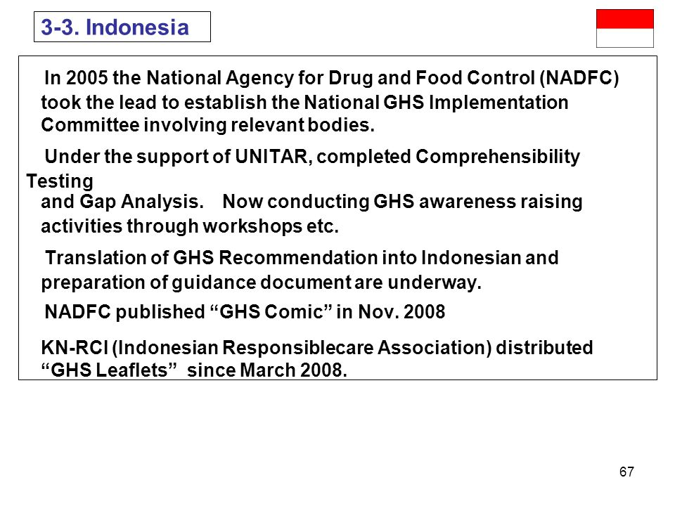 3-3. Indonesia In 2005 the National Agency for Drug and Food Control (NADFC) took the lead to establish the National GHS Implementation.