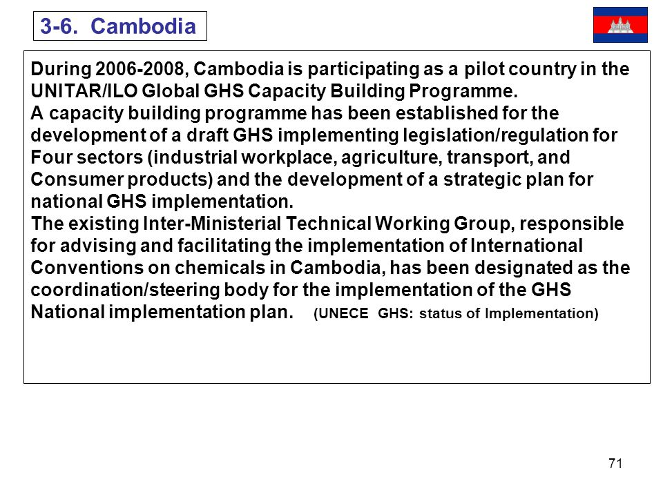 3-6. Cambodia During 2006-2008, Cambodia is participating as a pilot country in the. UNITAR/ILO Global GHS Capacity Building Programme.