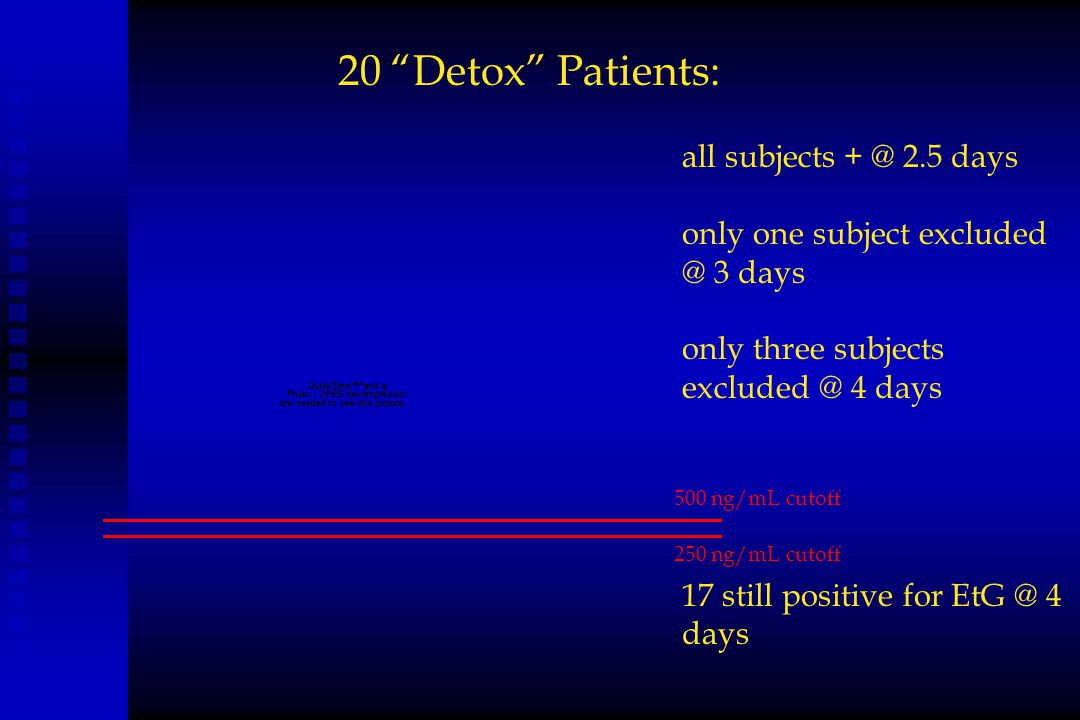 20 Detox Patients: all subjects + @ 2.5 days
