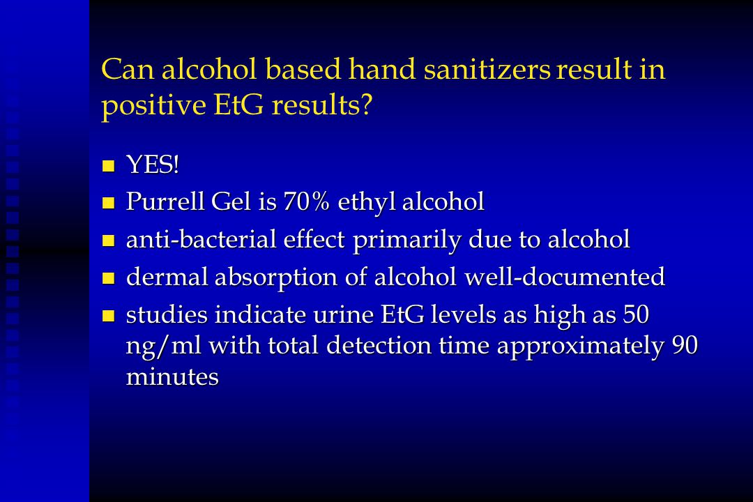 Can alcohol based hand sanitizers result in positive EtG results