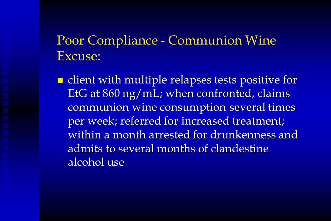 Poor Compliance - Communion Wine Excuse: