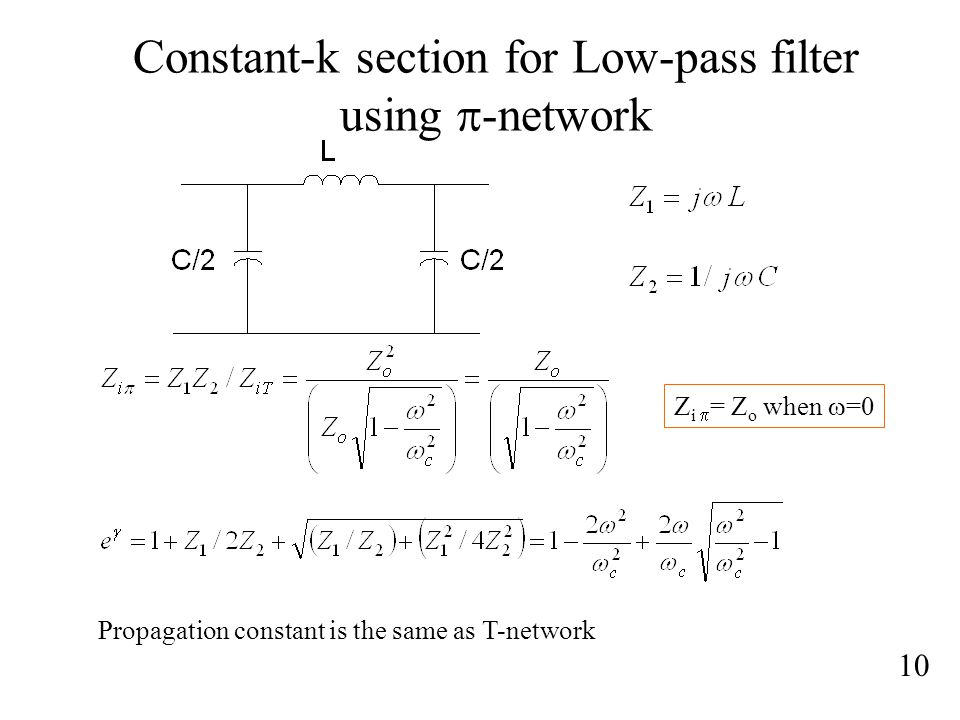 Constant-k section for Low-pass filter using p-network