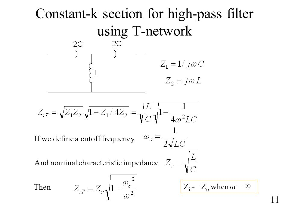 Constant-k section for high-pass filter using T-network