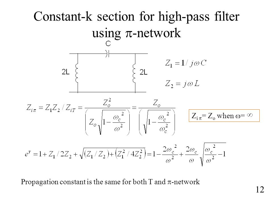 Constant-k section for high-pass filter using p-network