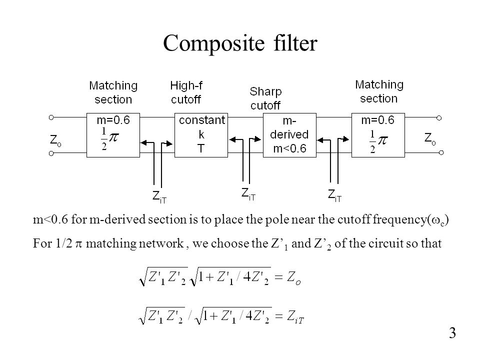 Composite filter m<0.6 for m-derived section is to place the pole near the cutoff frequency(wc)