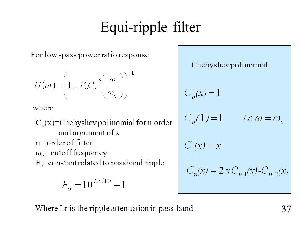 Equi-ripple filter 37 For low -pass power ratio response