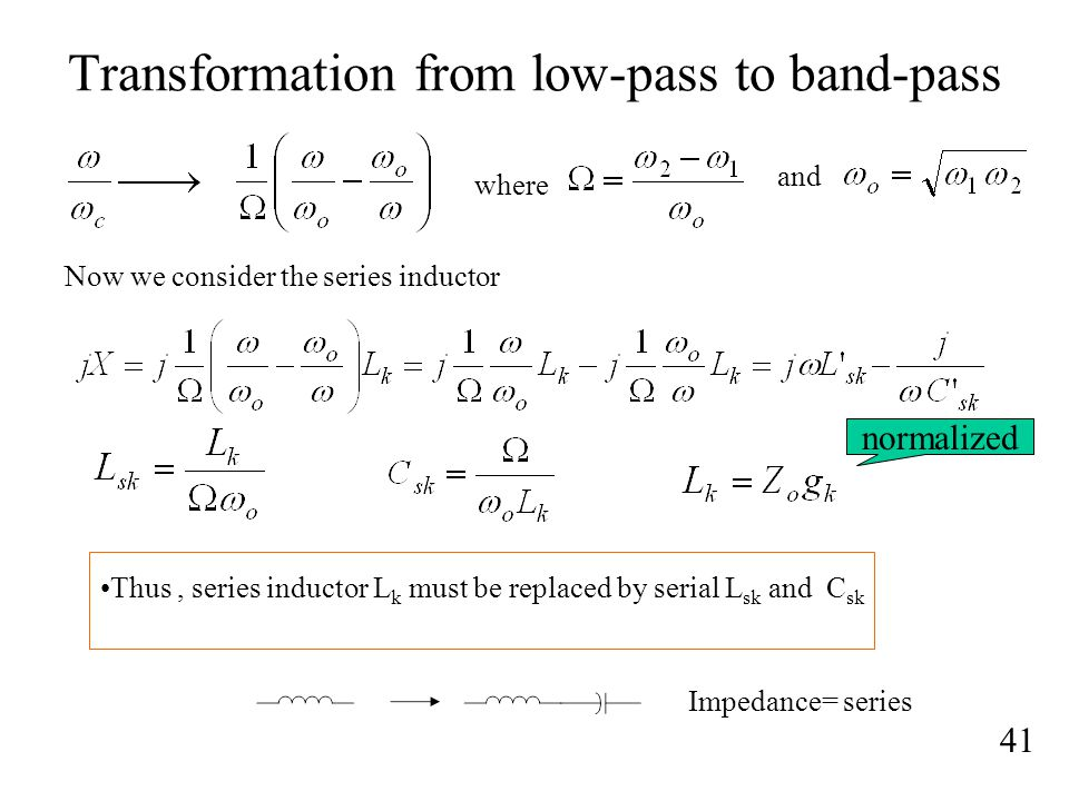 Transformation from low-pass to band-pass