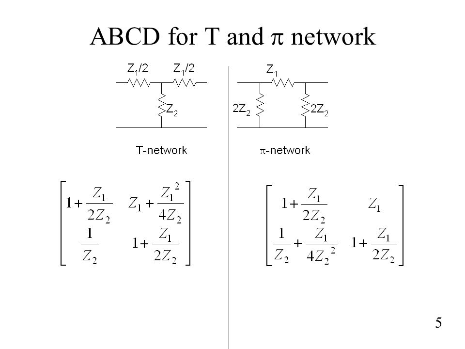 ABCD for T and p network 5