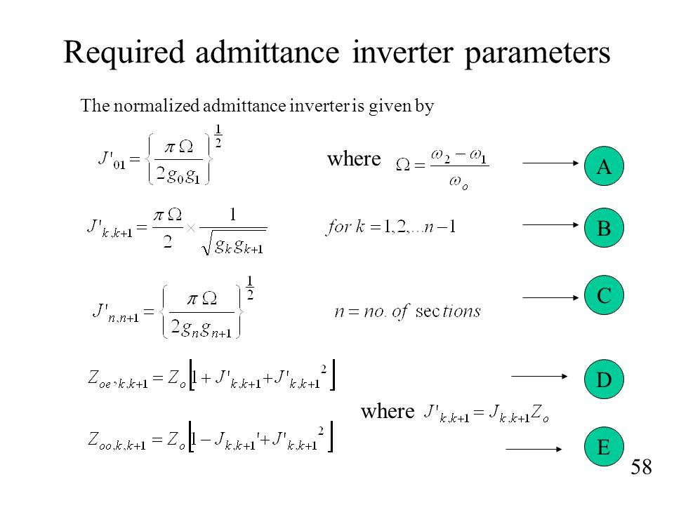Required admittance inverter parameters
