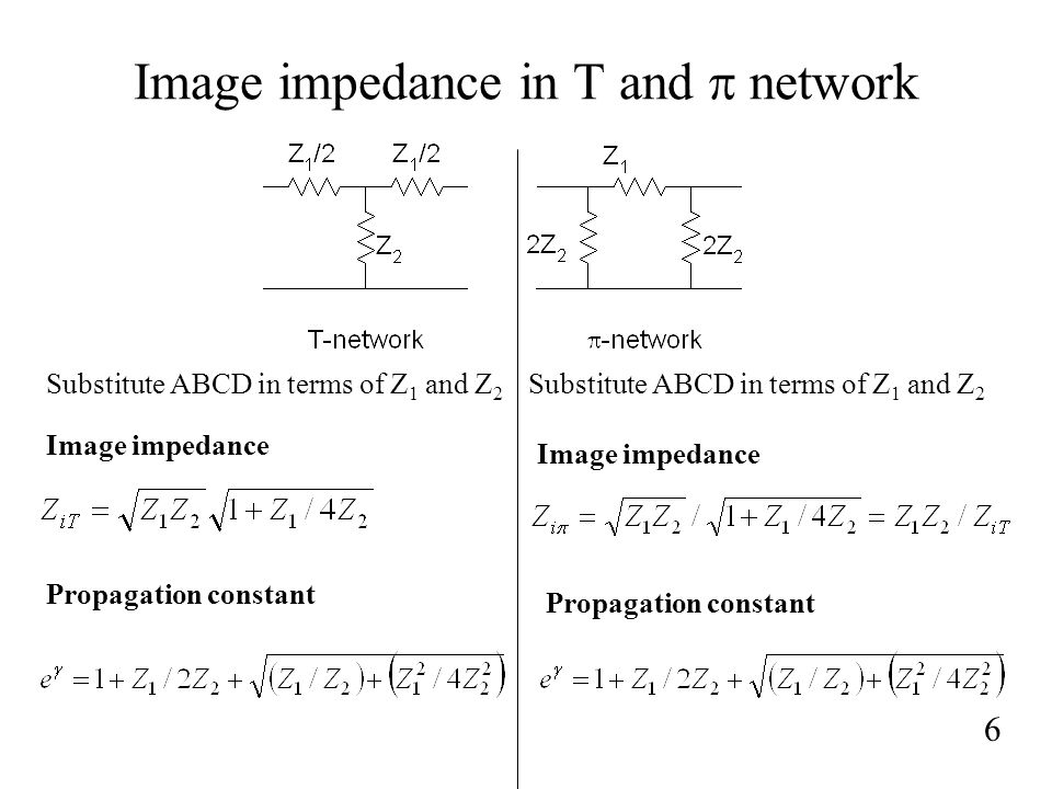 Image impedance in T and p network