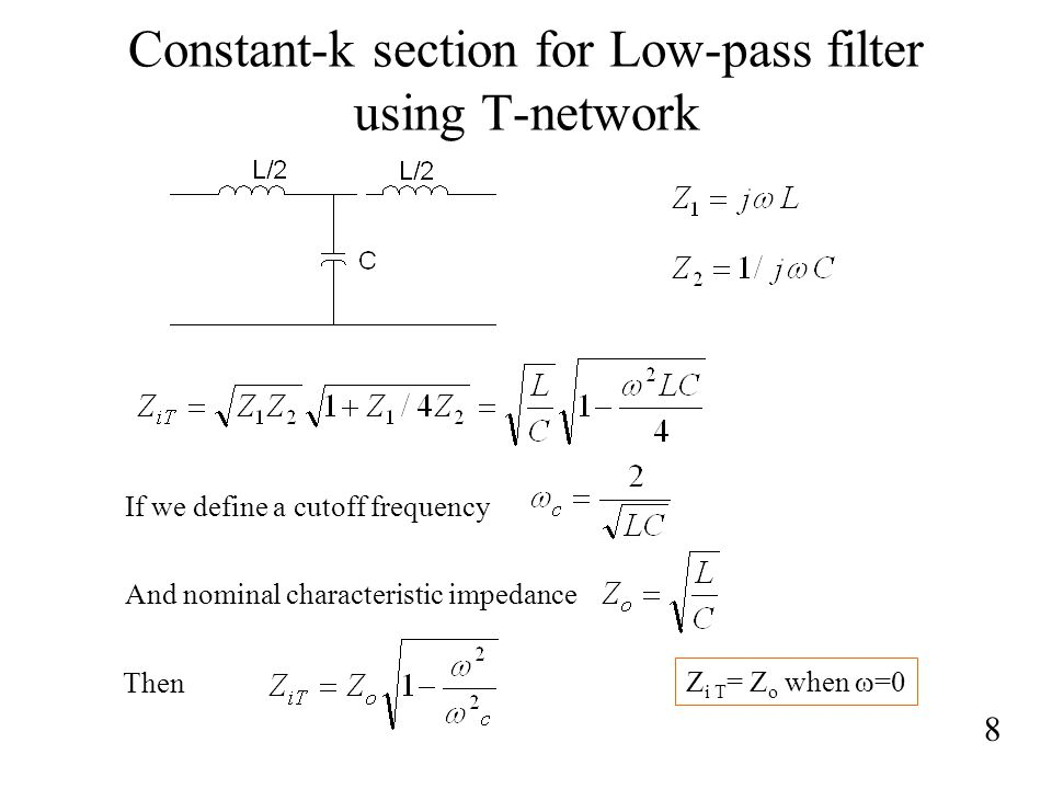Constant-k section for Low-pass filter using T-network