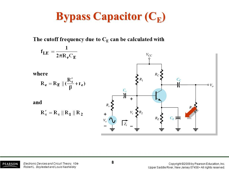 Bypass Capacitor (CE) The cutoff frequency due to CE can be calculated with where and 8