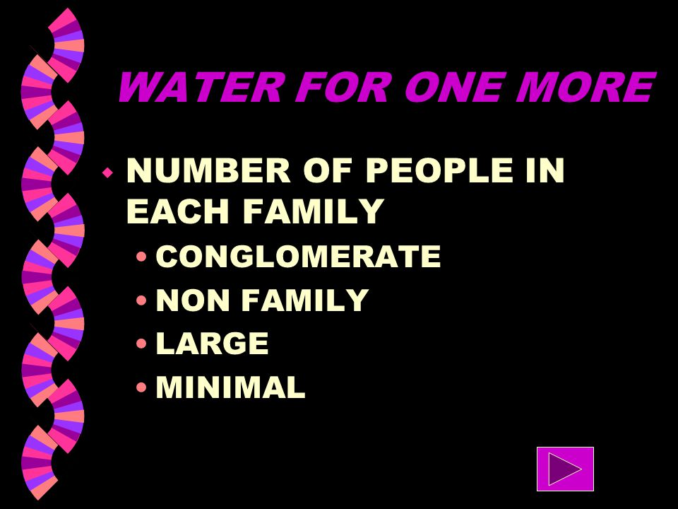 WATER FOR ONE MORE NUMBER OF PEOPLE IN EACH FAMILY CONGLOMERATE