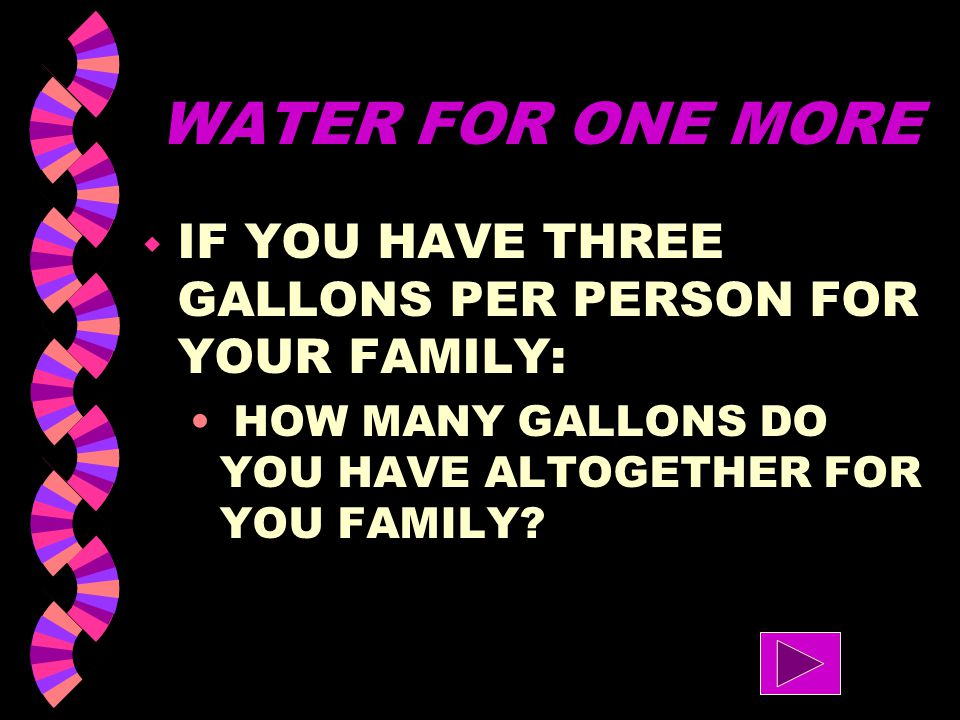 WATER FOR ONE MORE IF YOU HAVE THREE GALLONS PER PERSON FOR YOUR FAMILY: HOW MANY GALLONS DO YOU HAVE ALTOGETHER FOR YOU FAMILY