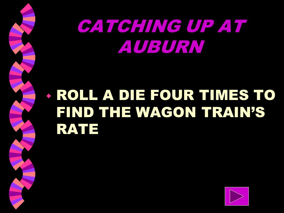 CATCHING UP AT AUBURN ROLL A DIE FOUR TIMES TO FIND THE WAGON TRAIN'S RATE