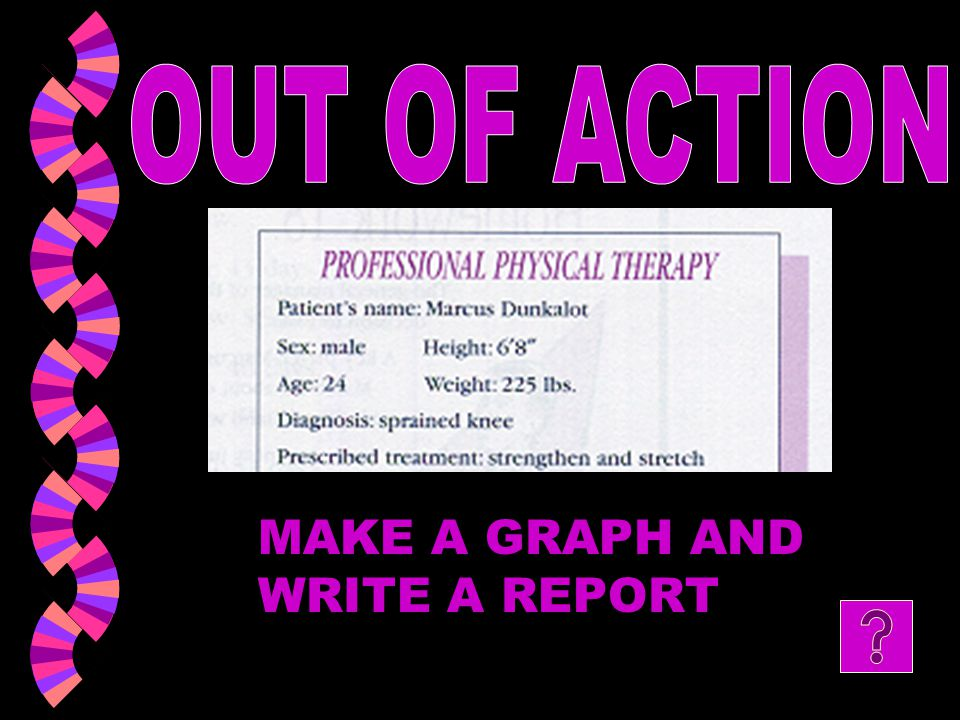 OUT OF ACTION MAKE A GRAPH AND WRITE A REPORT