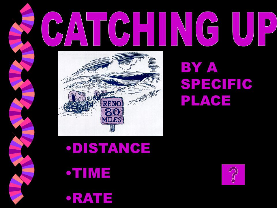 CATCHING UP BY A SPECIFIC PLACE DISTANCE TIME RATE