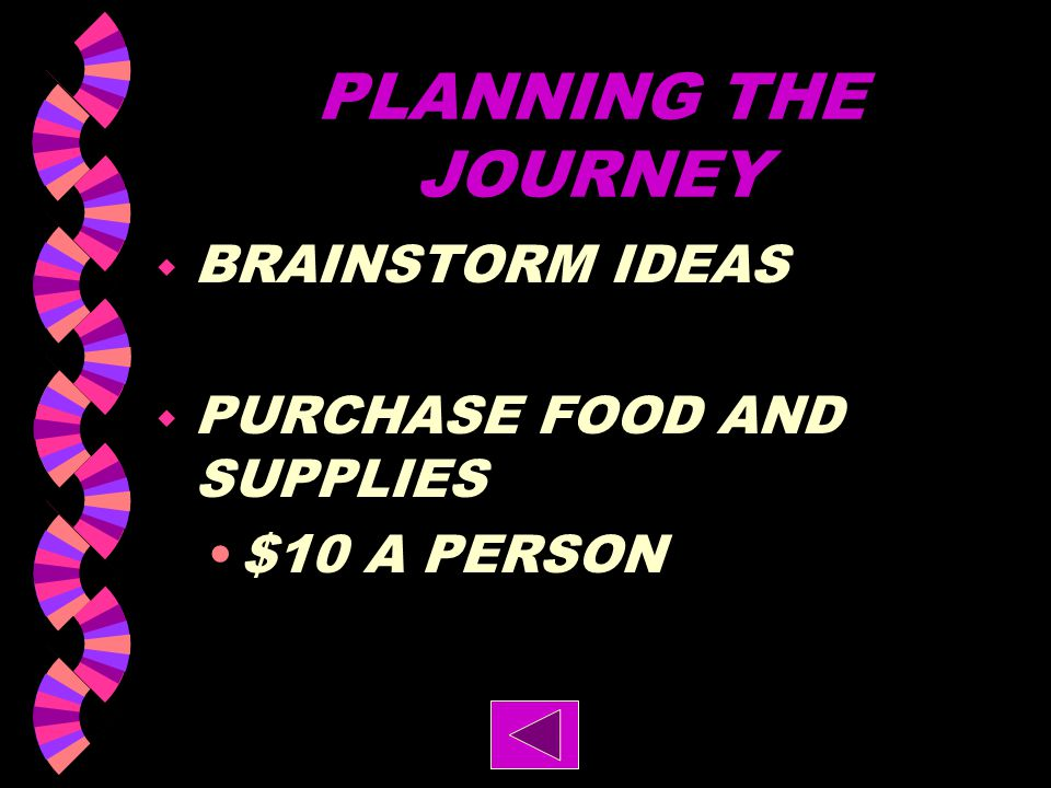 PLANNING THE JOURNEY BRAINSTORM IDEAS PURCHASE FOOD AND SUPPLIES