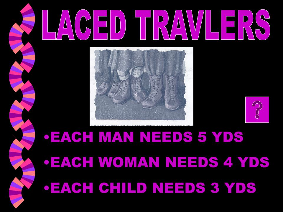 LACED TRAVLERS EACH MAN NEEDS 5 YDS EACH WOMAN NEEDS 4 YDS EACH CHILD NEEDS 3 YDS