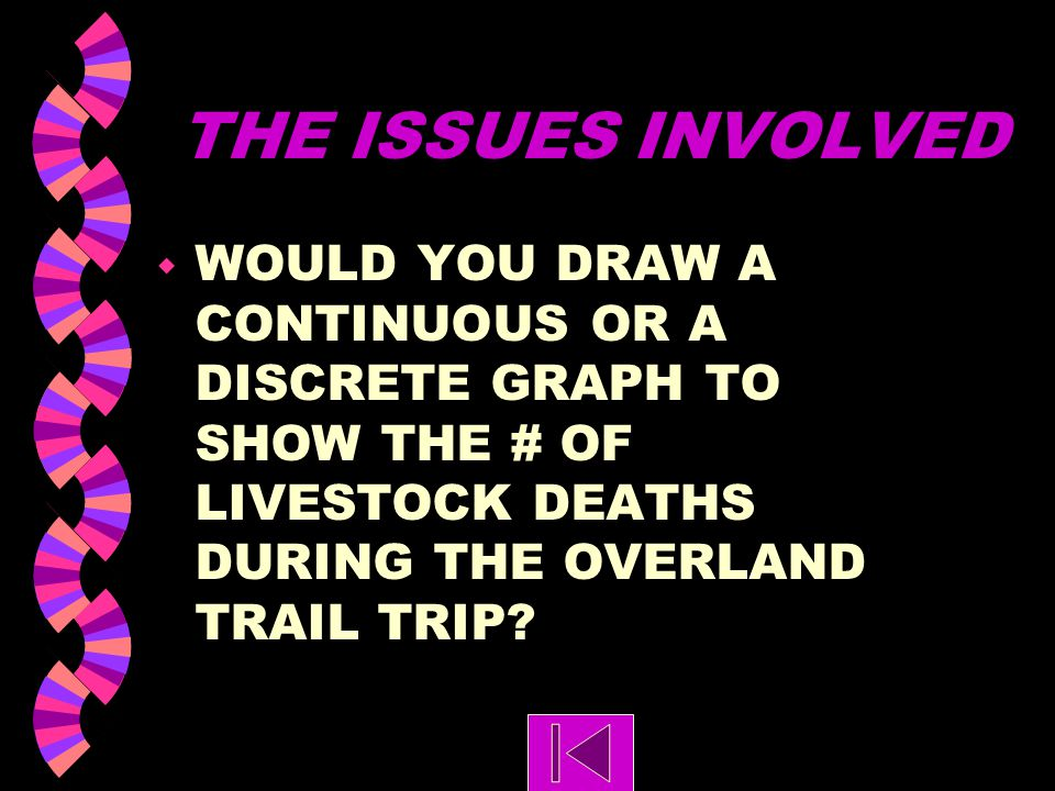 THE ISSUES INVOLVED WOULD YOU DRAW A CONTINUOUS OR A DISCRETE GRAPH TO SHOW THE # OF LIVESTOCK DEATHS DURING THE OVERLAND TRAIL TRIP