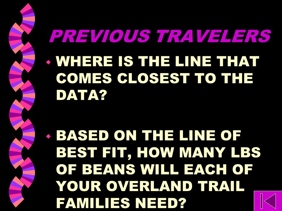 PREVIOUS TRAVELERS WHERE IS THE LINE THAT COMES CLOSEST TO THE DATA
