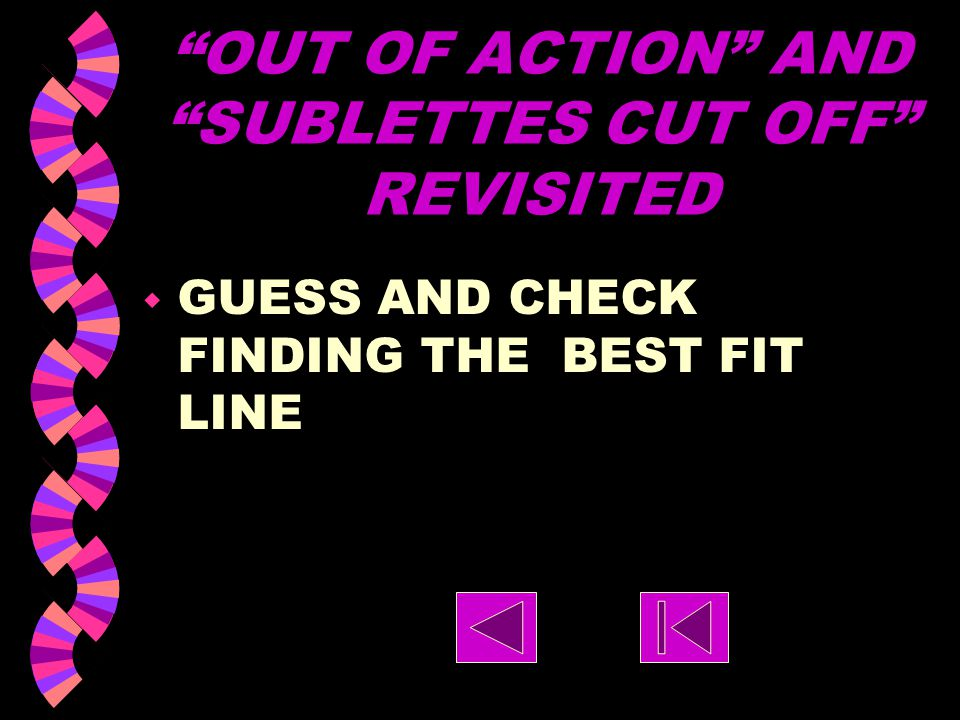 OUT OF ACTION AND SUBLETTES CUT OFF REVISITED