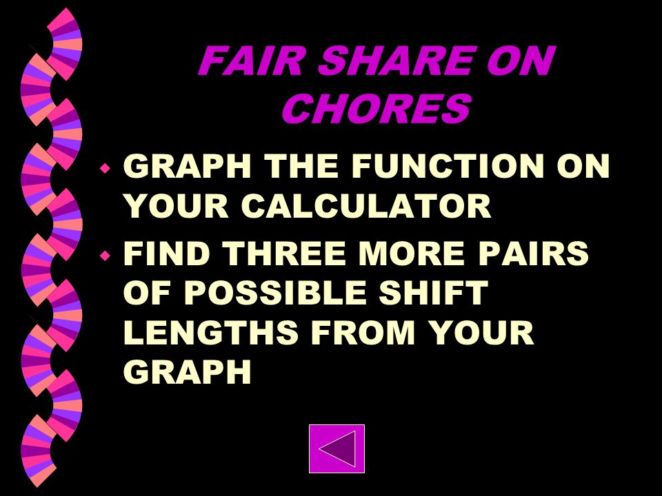 FAIR SHARE ON CHORES GRAPH THE FUNCTION ON YOUR CALCULATOR