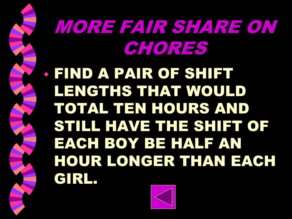 MORE FAIR SHARE ON CHORES