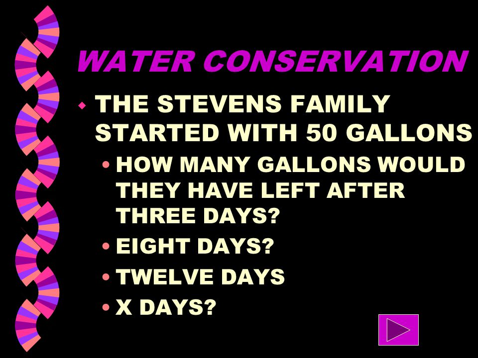 WATER CONSERVATION THE STEVENS FAMILY STARTED WITH 50 GALLONS