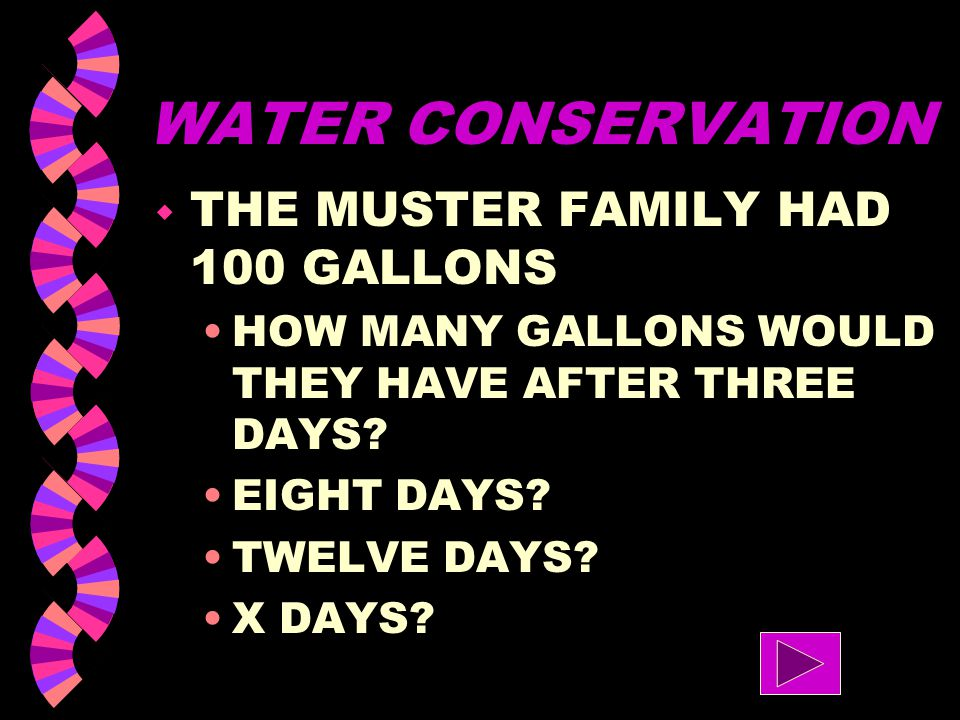 WATER CONSERVATION THE MUSTER FAMILY HAD 100 GALLONS