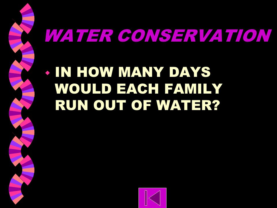 WATER CONSERVATION IN HOW MANY DAYS WOULD EACH FAMILY RUN OUT OF WATER